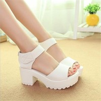 US SIZE Sandals wedges Open Toe Thick Heel Soft PU Platform Sandals high-heeled Women's shoes