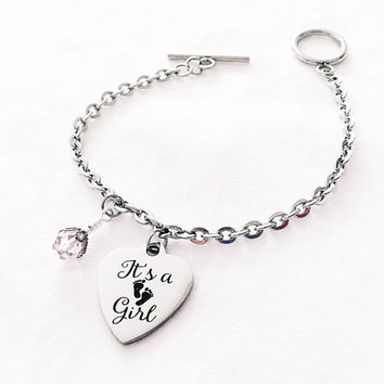 Baby Girl Gift - Baby Shower Gift - Mom to Be Gift - Mother Jewelry - Expectant Mom Gift - It's a Girl - Baby Footprint Charm