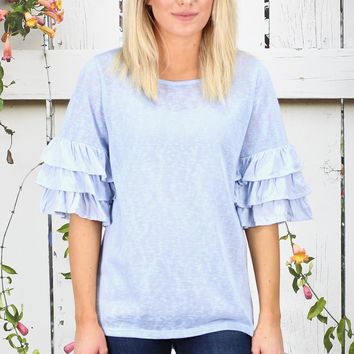 Layered Ruffle Short Sleeve Lightweight Knit {Ice Blue}