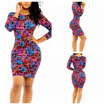 Pattern Print Long Sleeve Bodycon Midi Dress