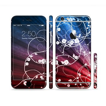 The Blue and Red Light Arrays with Glowing Vines Sectioned Skin Series for the Apple iPhone 6 Plus