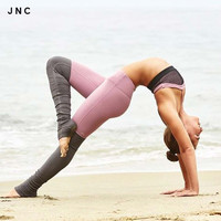 New High Elastic Yoga Tights For Women Yoga Goddess Ribbed Leggings Gray High Wa