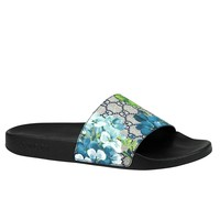 Gucci Bloom Print Blue Supreme GG Canvas Flower Slide Sandals 407345 8498