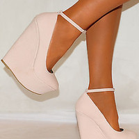 LADIES PALE BABY PINK SNAKE SKIN COURT PLATFORMS WEDGES ANKLE STRAP HIGH HEELS
