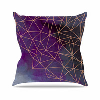"Cafelab ""Watercolor Storm"" Purple Gold Throw Pillow"