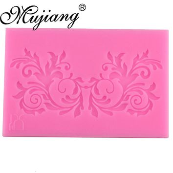 Mujiang Leaf Flower Vine Lace Silicone Mold Fondant Cake Decorating Tools Kitchen Baking Molds Candy Chocolate Gumpaste Moulds