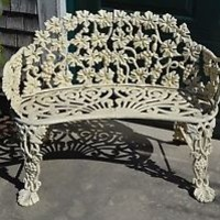 Fabulous 20th C. Vintage CAST IRON LOVE SEAT GARDEN BENCH in Old White Paint
