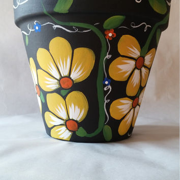 Clay Pot, Hand Painted Pot, Painted Flower Pot, Yellow Flower Po