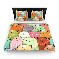 "Snap Studio ""Kitty Attack"" Cat Illustration Woven Duvet Cover"