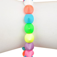 Neon and Multi Colored Kisses Stretch Bracelet