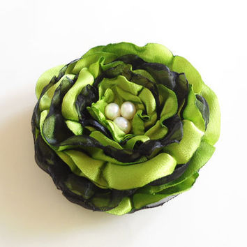 Fabric Flower Hair Accessories for Women, Adult, and Girls, Hair Clips, Lime Green and Black Flower Hair Pieces