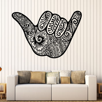 Decal Vinyl Wall Shaka Hang Loose for Surfer Hawaii Sign Stickers (ig3577)