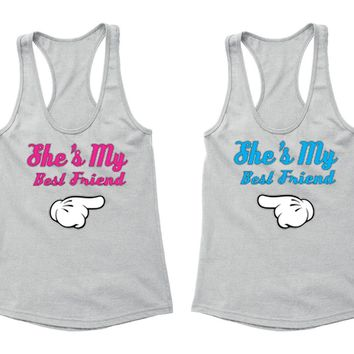 XtraFly Apparel BFF She's my best Friend Valentine's Matching Couples Racer-back Tank-Top