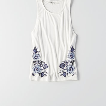 AEO Soft & Sexy Embroidered Hi-Neck Tank, White