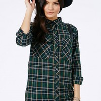 Missguided - Emery Tartan Oversized Shirt Dress In Deep Green