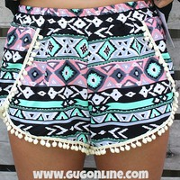 Sippin on Fire Aztec Shorts with Pom Pom Trim in Mint and Coral