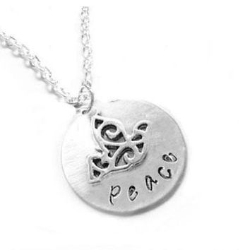 Peace and Bird Hand Stamped Personalized Necklace