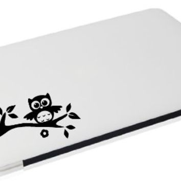 Laptop - Owl on branch with leaves, flower, and nut cute apple decal - matte black skins stickers