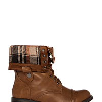 DailyLook: Plaid Fold Over Combat Boots in Tan 5.5 - 10