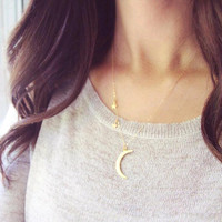 Fashion Cute sequins Charm Stars Moon Pendant necklace