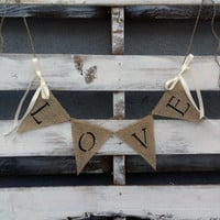 Love #Burlap Banner, #RusticWedding Decor, Photo Prop #Banner, Rustic Home Decor