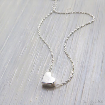 Tiny Silver Heart Necklace - Sterling Silver Necklace, Dainty Silver Necklace, Delicate Necklace, Simple Jewelry, Gift For Her