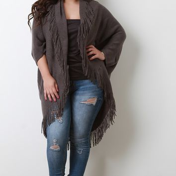 Soft Knit Fringe Dolman Sleeve Cardigan