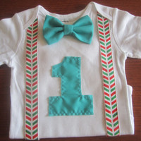 Boy's red green chevron suspender birthday bodysuit, Boy first birthday outfit, Boy first birthday onsie, baby green chevron birthday Onesuit