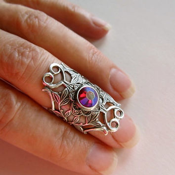 Dragons Breath Ring Sterling Knuckle Ring Gothic Ring Art Nouveau Middle Finger Ring Filigree Ring Red Crystal Ring - Celtic Flame 2