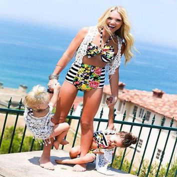 DCCKHG7 2017 Summer Family Match Swimsuit Mother and Daughter Floral Bikini Set Toddler Kids Swimming Bathing Suit High Waist Swimming