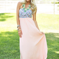 Modern Cinderella Maxi Dress Peach CLEARANCE - Modern Vintage Boutique