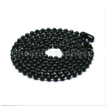 Black Silver Metal Bead Chain 70CM Men Women Bead Necklace Necklace For Sale SM6