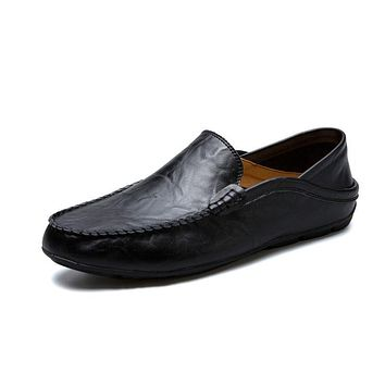 Men's Shoes Genuine Leather Moccasin Loafers Designer Slip On Flat Boat Shoes Male Classical