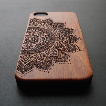 Rose Wood & PVC Material Mandala iPhone 6 6 plus Case - Real Wood iPhone 6 Case - Wooden iPhone 6 Case - Natural Wood iPhone 6 Plus Case