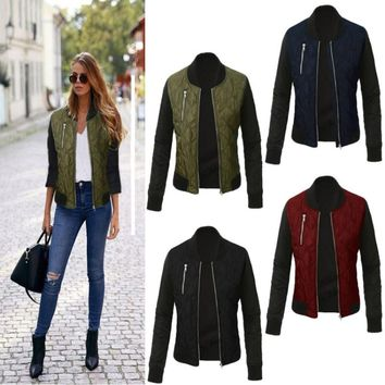 Oufisun Winter Leisure Fashion Solid Women Jacket O-neck Zipper Stitching Quilted Bomber jacket New Women Coats