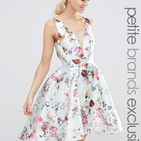 Chi Chi London Petite Plunge Front High Low Skater Dress In Allover Floral Print