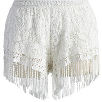 Fringed Lace Crochet Shorts in White White S/M
