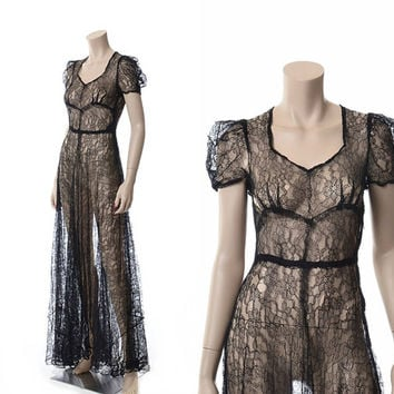 Vintage 30s 40s Sheer Black Lace Maxi Dress 1930s 1940s Art Deco Floral All Lace Wedding Sweep Gown Boho Dress / XS
