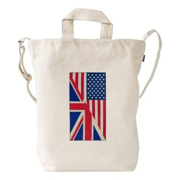 American and Union Jack Flag Duck Canvas Bag