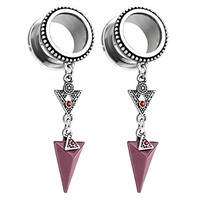 BodyJ4You Pair Surgical Steel Screw-Fit Tunnel Arrow Dangle Tribal Plugs 14mm (1/2 Inch) Gauges