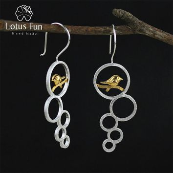 Unique Real 925 Sterling Silver Drop Dangle Earrings Circle Birds Hook Infinity