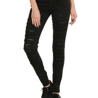 Royal Bones Black Bleach Fishnet Skinny Jeans