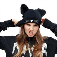 Kitty Ear Beanie - Fashion Punk Girl Women Devil Cat Ear Knit Beanie Hat Cap Winter Warmer Black
