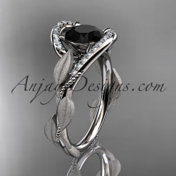 14kt white gold diamond leaf and vine wedding ring, engagement ring with Black Diamond center stone ADLR64