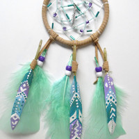 Beaded Dream Catcher with hand painted feathers