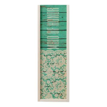 TURQUOISE & LACE WEDDING RUSTIC WOODEN WINE BOX