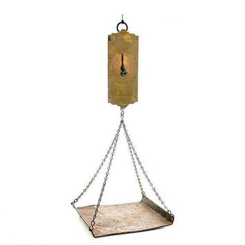 DCCK1IN antique hanging scale chatillons improved circular spring balance with weighing pan mid 19th century new york state verification of accuracy