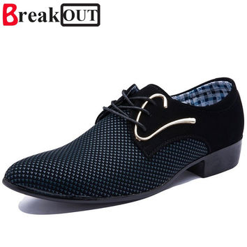 Break Out Men Oxfords for Men Dress Shoes Leather Business Breathable Lace up Summer Style Men Shoes