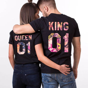 Fleur Shirts, Fleur King Shirt, Fleur Queen Shirt, Fleur Collection, Floral Shirts, Floral King Queen T-Shirts, UNISEX