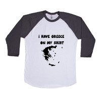 I Have Greece On My Shirt Grease Country Countries Location Funny Pun Play On Words Joke Jokes SGAL9 Baseball Longsleeve Tee